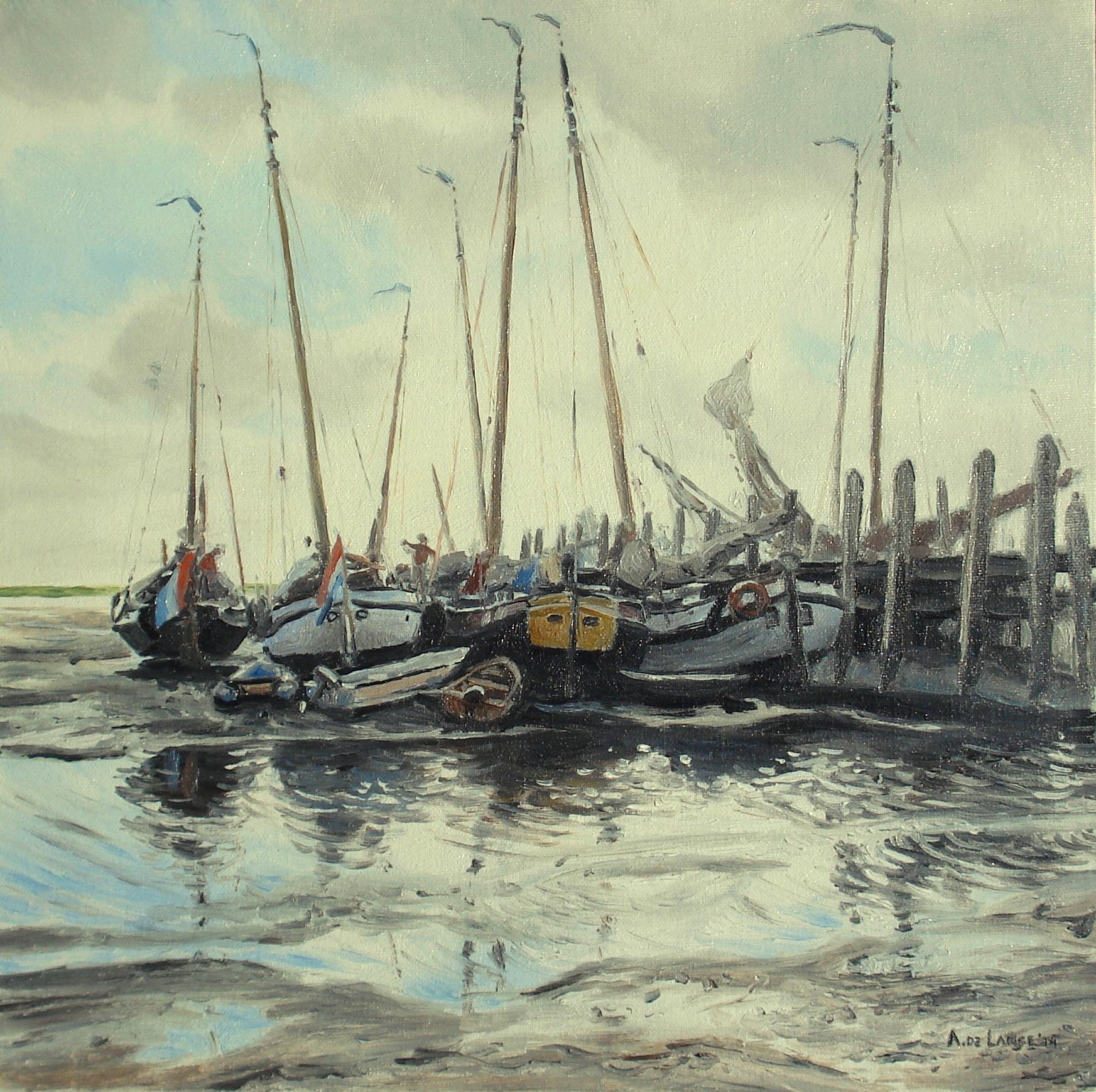 Haventje van Schiermonnikoog, olieverf op canvasboard, 30 x 30 cm