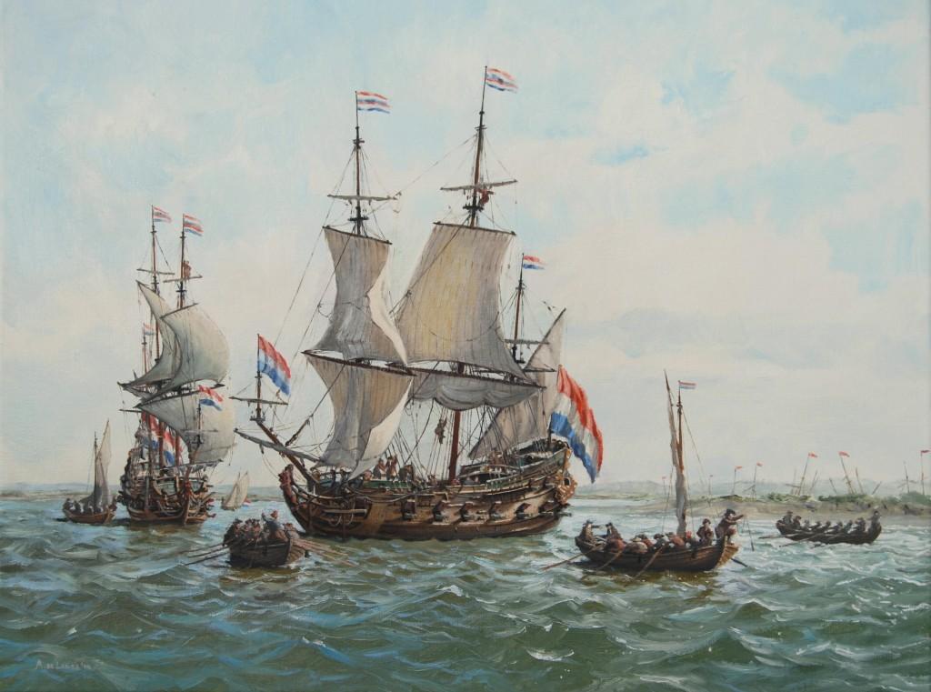 De jachten `Faam` en `De Jonge Prins te Paart` verkennen rivier de Medway tijdens de tocht naar Chatham in juni 1667, olieverf op doek, 50 x 60 cm