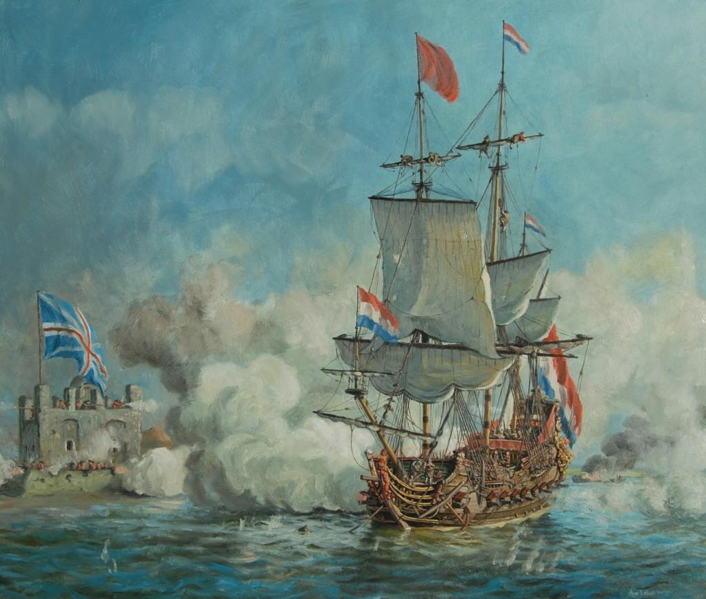 De twee uur durende beschieting van fort Sheerness door het fregat de `Vrede` van Jan van Brakel op 20 juni 1667, olieverf op doek, 60 x 70 cm