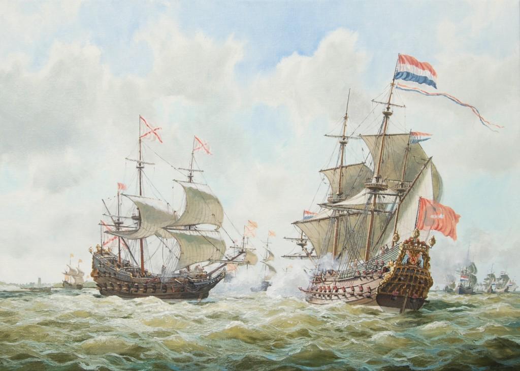Gevecht tussen een Hollands oorlogsfregat en Duinkerker kapers omstreeks 1640, olieverf op doek, 50 x 70 cm