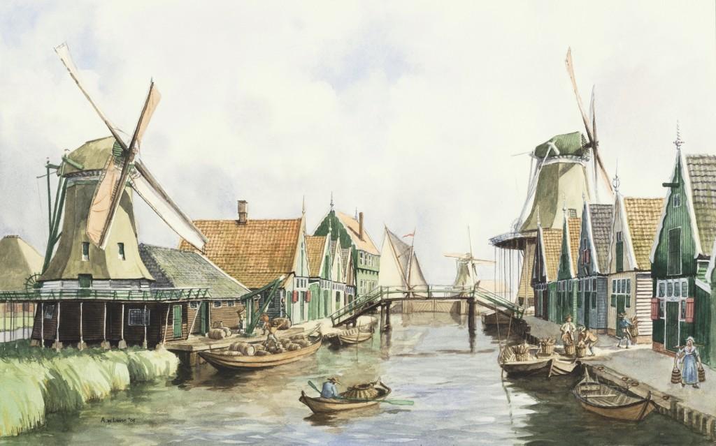 De Noordersluissloot te Wormerveer met linksachter herberg De Jonge Prins en rechts Meelmolen De Witte Vlinder omstreeks 1730, aquarel, 50 x 70 cm