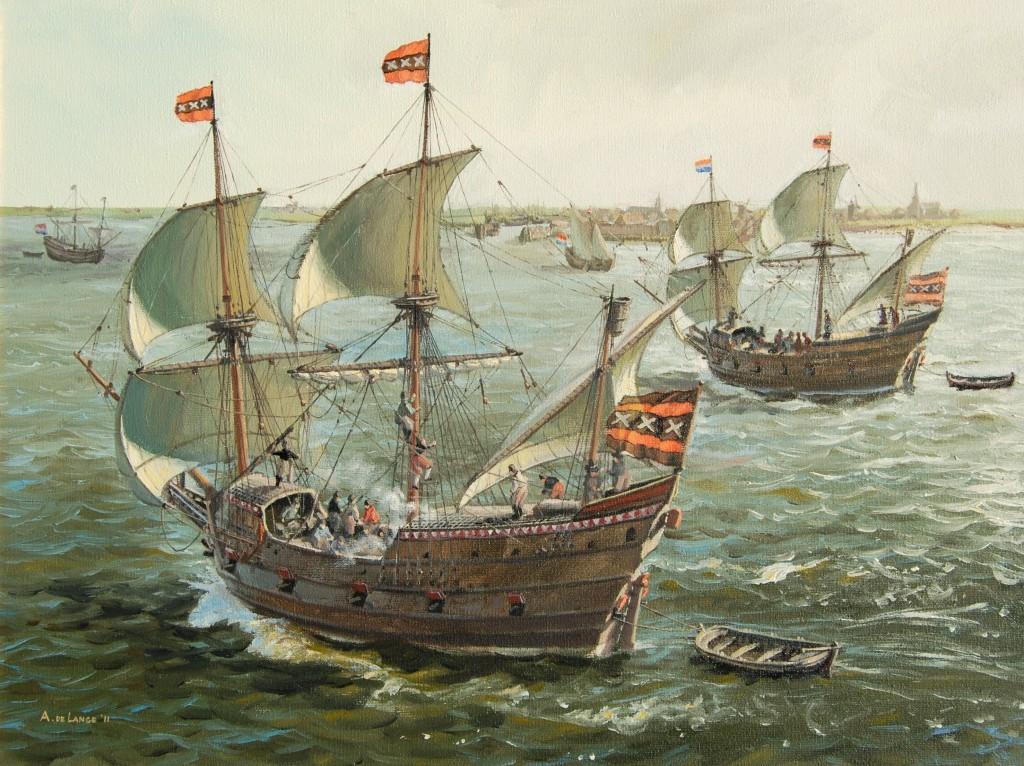 De schepen van Willem Barentsz. en Rijp op weg naar `T Vlie